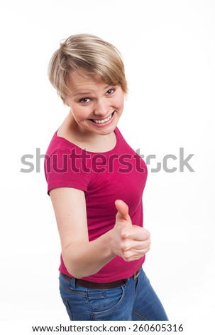Beautiful woman showing her thumb up in a positive attitude, isolated on white - stock photo