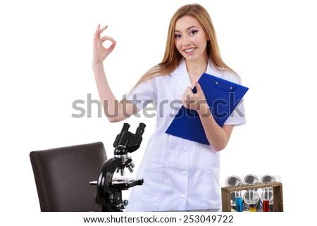 beautiful woman showing sign ok laboratory science - stock photo