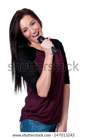 Beautiful woman singer performing at a concert - stock photo