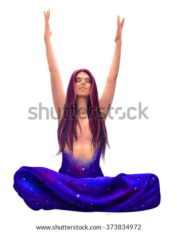 Beautiful woman sitting in meditation in lotus pose with her hands raised up isolated on white background in summer and spring colors with cosmic space in her heart illustration  - stock photo