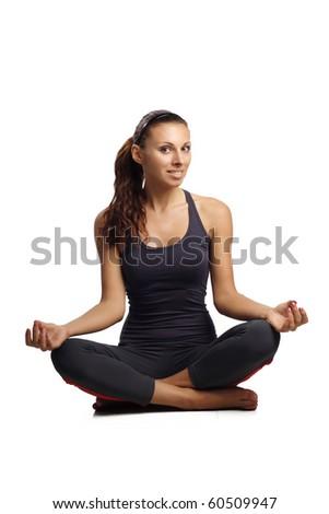 beautiful woman sitting in yoga pose practise yoga - stock photo