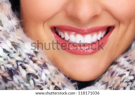 Beautiful woman smile. Dental health. - stock photo