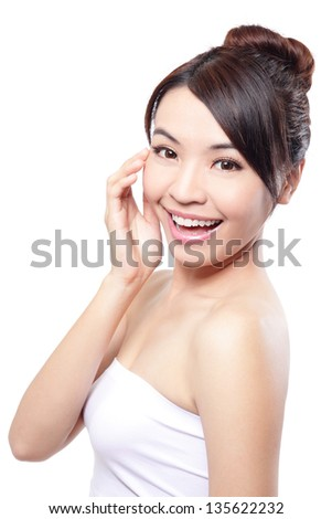 Beautiful woman smile face and finger touch her face with clean face skin, concept for eye and skin care, white background, asian beauty - stock photo