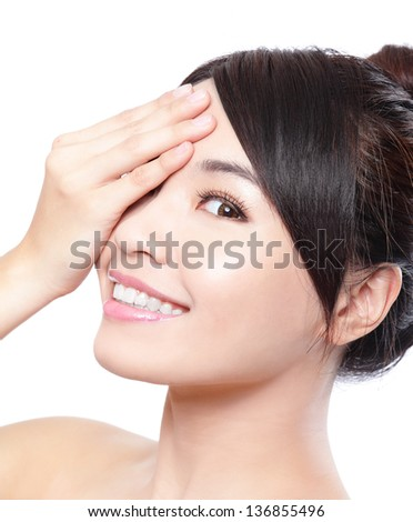 Beautiful woman smile face with clean face skin, and hand cover her eyes , concept for eye and skin care, isolated over white background, asian beauty - stock photo