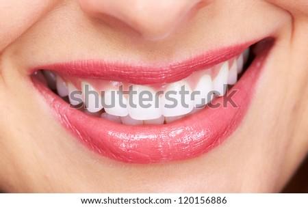 Beautiful woman smile isolated on white background. - stock photo