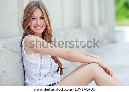 Beautiful woman smiling - stock photo