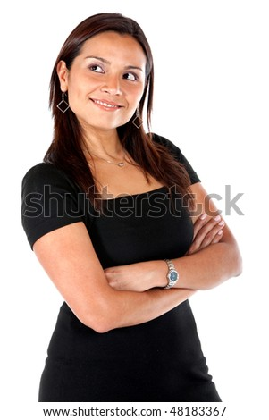 beautiful woman smiling and looking up isolated over a white background