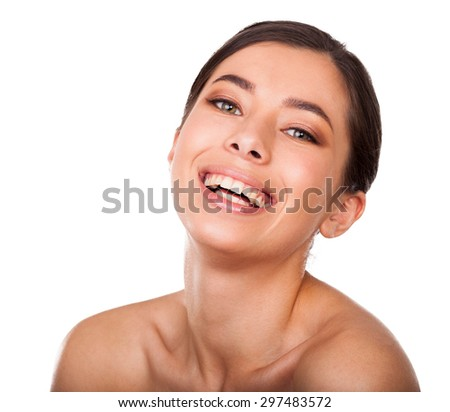 Beautiful woman smiling. Face beauty - stock photo