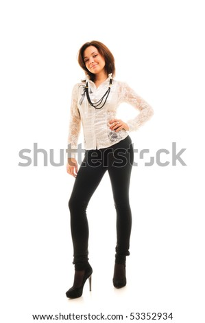 beautiful woman standing against isolated white background