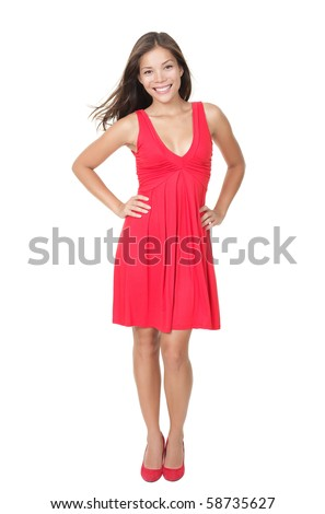 Beautiful woman standing in red dress isolated on white in full length, Young gorgeous female model looking healthy and fresh! - stock photo