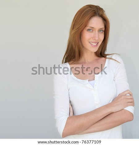 Beautiful woman standing on white background