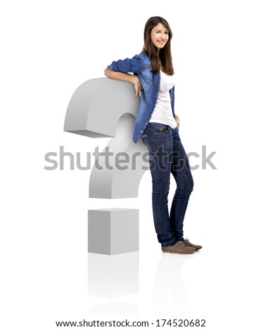 Beautiful woman standing over a interrogation symbol, isolated over a white background - stock photo