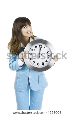 Beautiful woman standing over a white background with a clock on the face