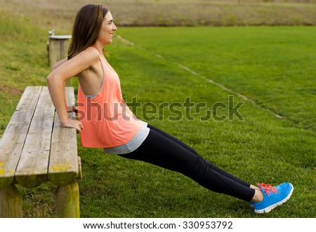 Beautiful woman stretching after finish the exercise - stock photo