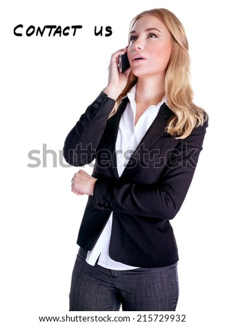 Beautiful woman talking on phone isolated on white background, contact us in any time, support telephone concept - stock photo