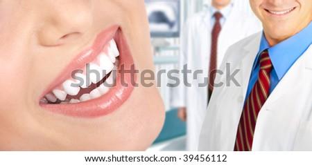 Beautiful  woman teeth. Dentists - stock photo