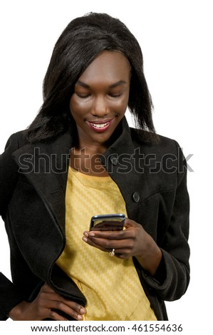 Beautiful woman texting with a cell phone