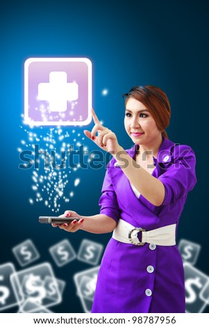 Beautiful woman touch the First Aid icon from mobile phone - stock photo