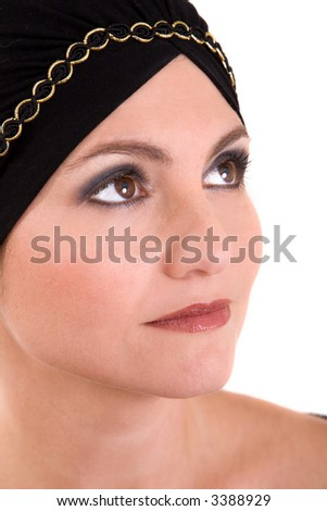 Beautiful woman wearing a bandana around her head - stock photo