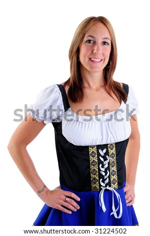 Beautiful Woman Wearing A Traditional Dirndl Costume For Oktoberfest Celebrations
