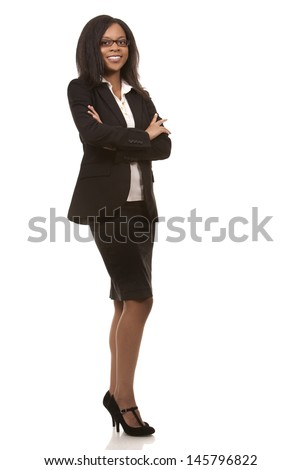 beautiful woman wearing business outfit on white background