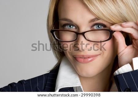 Beautiful Woman Wearing Glasses - stock photo