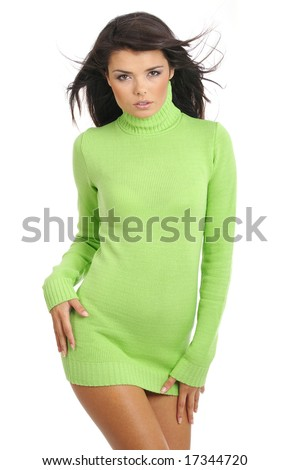 Beautiful woman wearing green sweater isolated on white background - stock photo