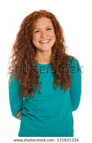 Beautiful woman with a bright, cheery smile - stock photo