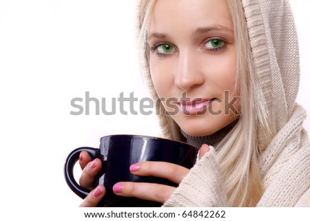 Beautiful woman with a  cup