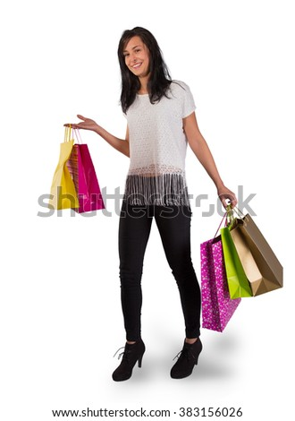 Beautiful woman with a lot of shopping bags, close-up.