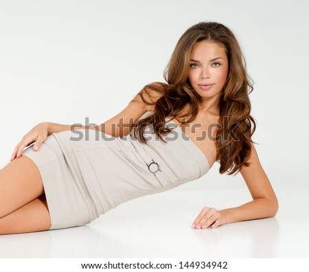 beautiful woman with a perfect figure - stock photo