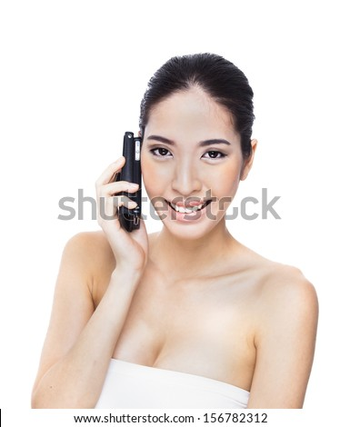 beautiful woman with a phone in his hand.