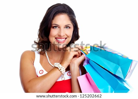 Beautiful woman with a shopping bags. Isolated on white background.