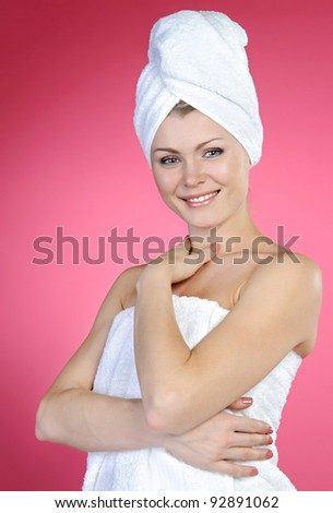 beautiful woman with a towel on a head - stock photo