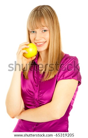 Beautiful woman with apple smiling isolated on white - stock photo