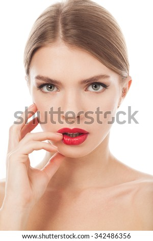 beautiful woman with beauty face and clean face skin , glamour makeup, green eyes - stock photo