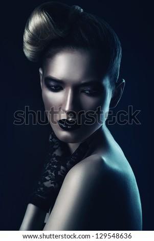 beautiful woman with black lips - stock photo