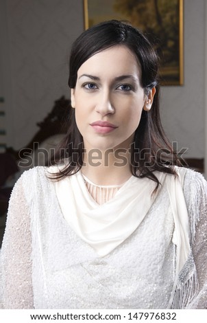 Beautiful woman with blue eyes - stock photo