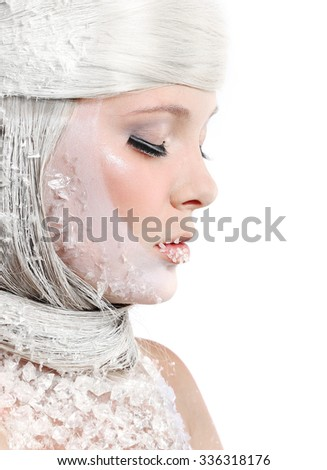 Beautiful woman with bright makeup isolated on white background. Fantasy girl portrait. Winter fairy portrait. Long hair. Beautiful snow queen - stock photo