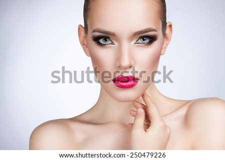beautiful woman with bright makeup portrait - stock photo