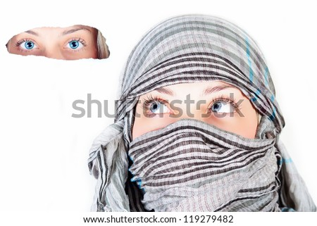 beautiful woman with burqa - stock photo
