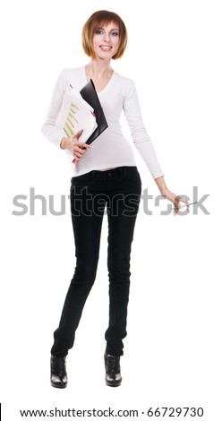 Beautiful woman with business documents, white background - stock photo
