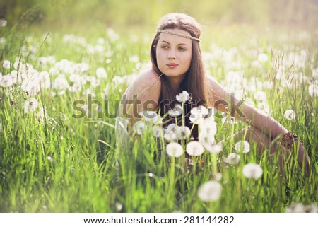 Beautiful woman with carefree expression . Nature harmony - stock photo