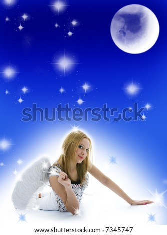 Beautiful woman with christmas decoration on background