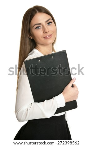 Beautiful woman with clipboard on white background - stock photo