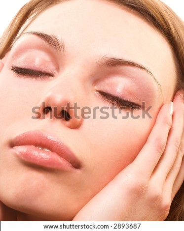 Beautiful  woman with close eyes relaxing - stock photo