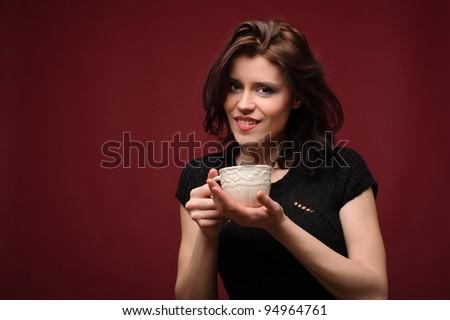 Redhead Girl Eating Cake Stock Photo 106733450