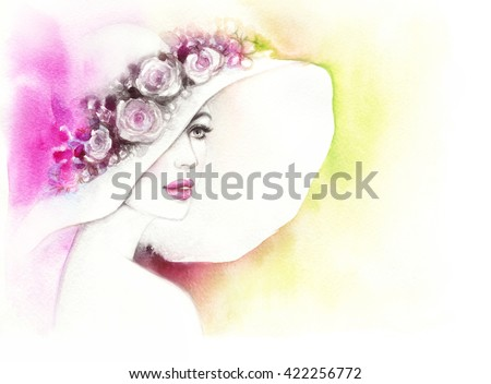 Beautiful woman with elegant hat. Abstract fashion watercolor illustration
