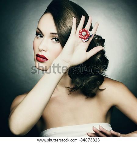 Beautiful woman with evening make-up. Retro style. Fashion photo - stock photo
