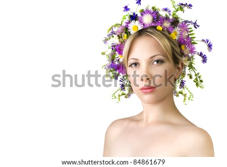 Beautiful woman with flower. Space for text. - stock photo